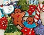PDF Pattern Felt Embroidered Christmas Ornaments eBook Instant Download