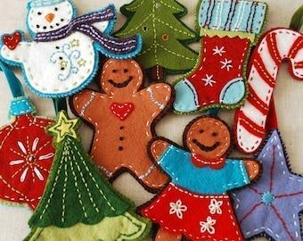 Gingerbread and Snowman Felt Christmas Ornament Set Digital Download