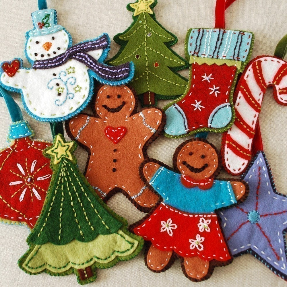 Christmas felt ornaments -  Felt Christmas Ornament Set Digital Download Zoom