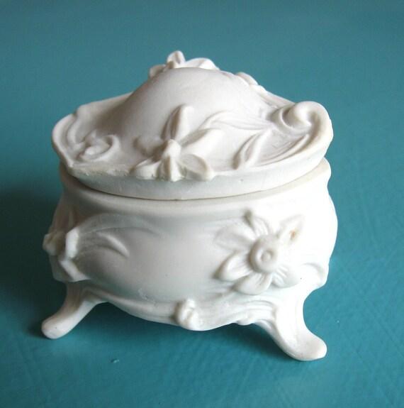 Three Miniature Parian Porcelain Art Nouveau Jewelry Treasure Boxes