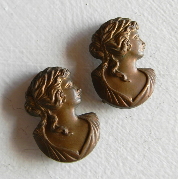 Antiqued Vintage Pressed Copper Cameos