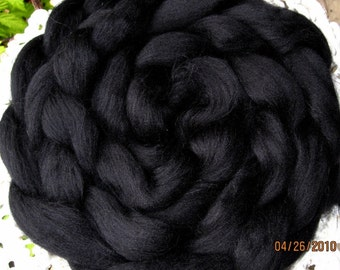 Glossy Deep Jet Black Merino Longwool Top Superwash