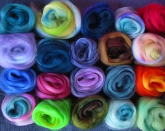 20 or more Color Blend Superwash Sampler Spinners and Felters