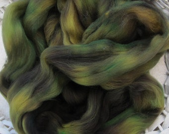 River Hand Painted Superwash Longwool Roving Earthy Tones Spinners and Felters