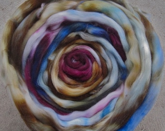 Pebbles Hand Painted Superwash Longwool Roving Earthy Tones Spinners and Felters