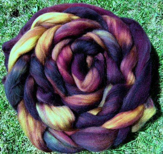 Eggplant Medley Superwash Longwool Roving Spinners and Felters