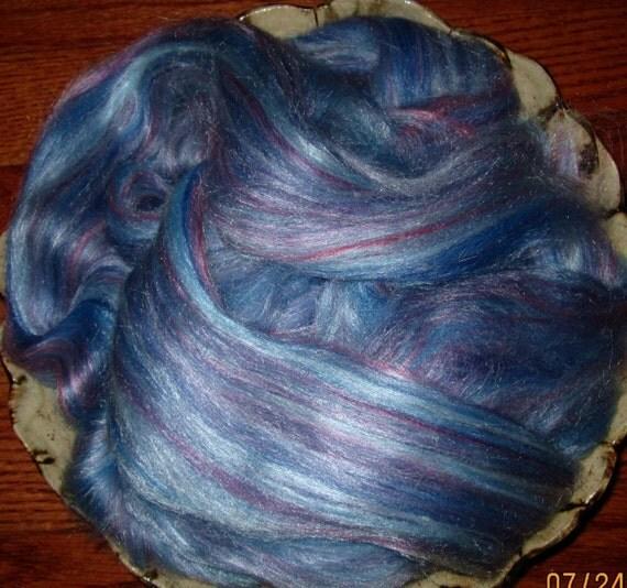 Blues Merino Tussah Silk Blend Ashland Bay Lux Roving Spinning and Felting