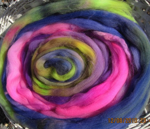 Wildflowers Hand Dyed Superwash Longwool Top for Spinners and Felters