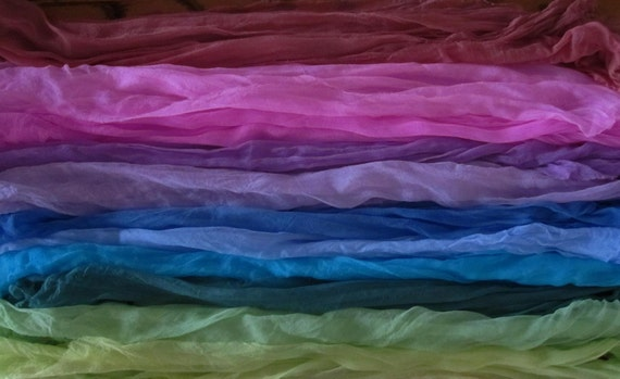 Extra Long Vibrant and Beautiful You Choose Hand Dyed Silk Gauze Scarves for Nuno