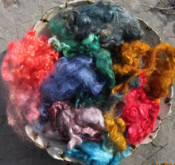 Hand Dyed Fleece for Felters and Spinners 1oz Cotswold and Mohair Locks