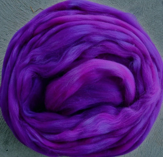 Electric Violets Merino Longwool Tops Superwash for Felters and Spinners