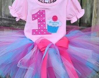 Cupcake Birthday Tutu Outfit pinks