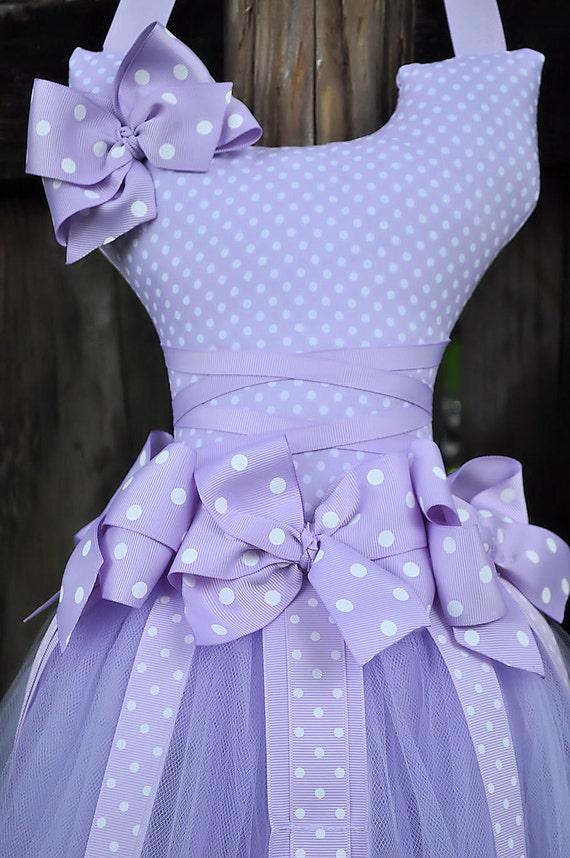 Tutu Hair Bow Holder Purple with white polka dots