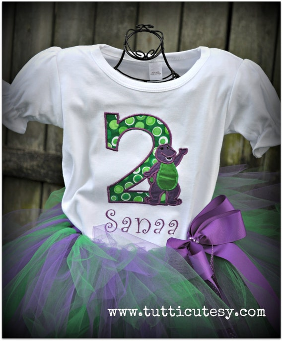 Barney purple and green tutu Birthday outfit
