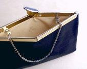 SALE- Etra Blue/Black Leather Clutch 1960's