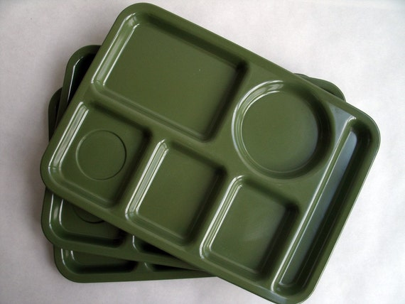 VINTAGE Olive Green School Lunch Trays
