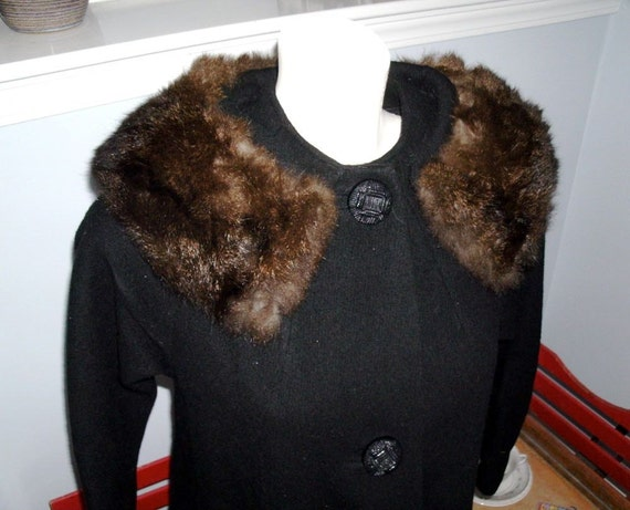 VINTAGE Black Wool Coat with Fur
