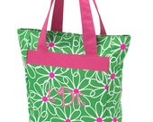 Personalized Tall Tote Bag (GREEN DAISIES)