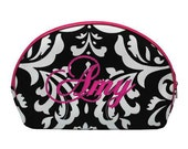 Personalized Set of 3 Cosmetic Cases (BLACK/WHITE DAMASK)