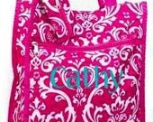 Personalized Tall Tote Bag (PINK DAMASK)