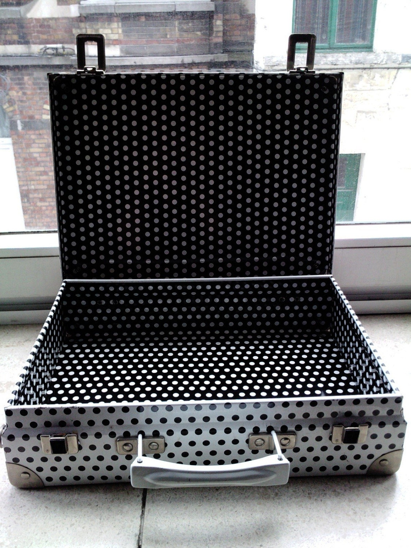 Polka dotted metal briefcase by heyheytiger on Etsy