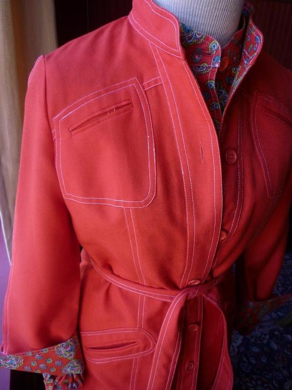 Women's Red Suit Three Piece Suit Jacket Blouse Slacks 1970s with a 1940s vibe