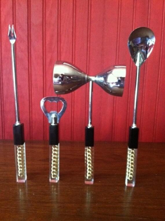 1960s Lucite Handle Bar Set Four Pieces