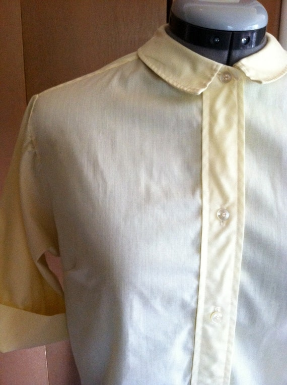 1950s Yellow Blouse Casual Button Up Lady Townecraft S/M