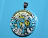 SALE -- Smurf Pendant - Everybody Loves Smurfette - one of a kind