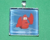 Vintage Trading Card Pendant featuring Sebastian from The Little Mermaid
