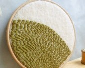 Wall Art Embroidery in Hoop - Green Hill - Abstract Landscape - Upcycled Wool