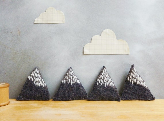 Mountain Brooch Recycled Wool with Embroidery - Blue Grey Marl & White Snow - Geometric Triangle
