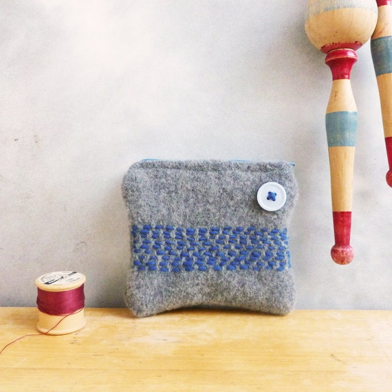Coin Purse - Upcycled Wool Sweater - Soft Grey / Gray with Embroidered Blue Stripes