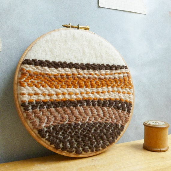 Embroidery Hoop Wall Decor - Upcycled Wool with Abstract Brown Hues - Inspired by Soil and Sediment