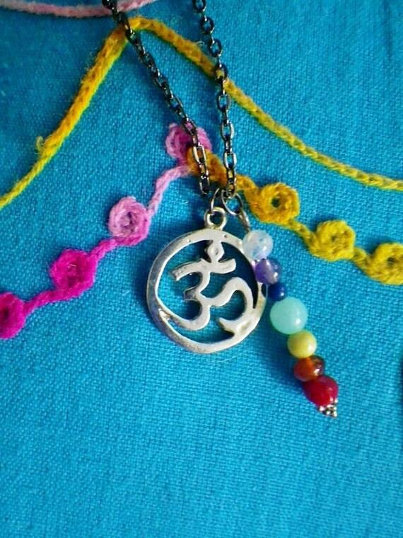 Om Chakra Gemstone necklace, moonstone, lapis, turquoise, amber