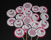 24 Hello Kitty Personalized cupcake toppers birthday party shower supplies