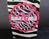 10 Personalized Zebra print and hot pink mini popcorn favor boxes