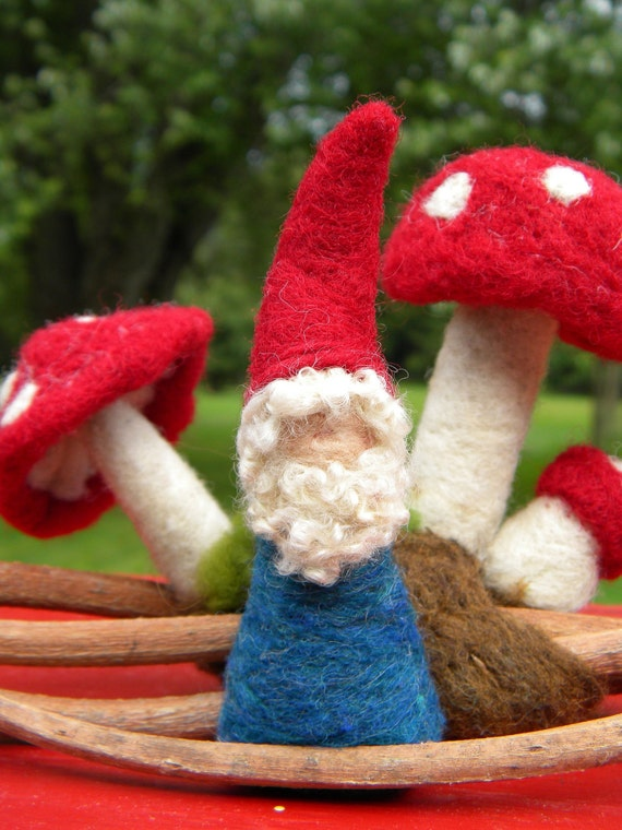 Gnome - needle felted  RESERVED for Chastity