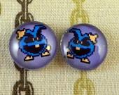 Post Earrings Blue Virus from Doctor Mario 8-bit
