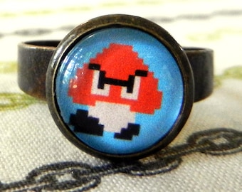 8 bit Ring - Super Mario Brothers Goomba - Retro Gaming Adjustable Brass Ring - Pixel Jewelry
