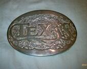 Vintage Texas Mens or Womens Silvertone Brass Western Style Belt Buckle