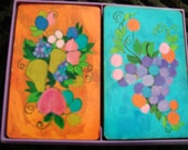 Vintage Hallmark Orange and Blue Fruit Theme Playing Cards in Plastic Lavender Box