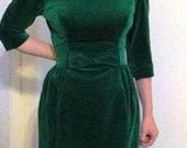 Vintage 50s Velvet Green off the Shoulder Cocktail Dress by Lorrie Deb