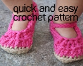 Baby Mary Janes Crochet Pattern, Quick and Easy, 4 sizes, baby shoes and booties