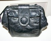 SALE- Beautiful Midnight Navy Quality Leather 80's Purse