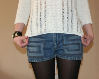 DIY White Shredded Sweater- SIze L
