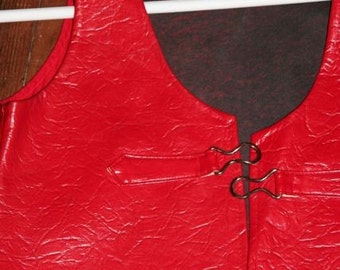Awesome Mod Red Pleather Vest-Size S