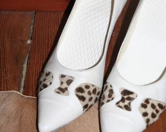 SALE- White Hot 80's Leather Stilettos with Leopard Print Pony Hair- Size US 9/ EUR 39