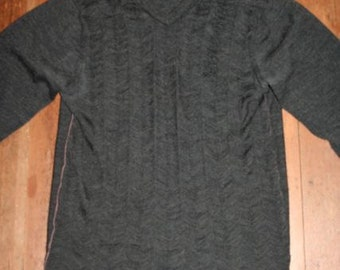 SALE- Cool DIY Charcoal Grey Shredded Sweater-Size M