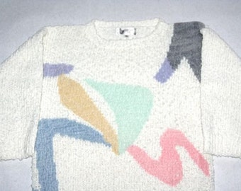 Sweet 80's White Nubby Sweater- Size S/M
